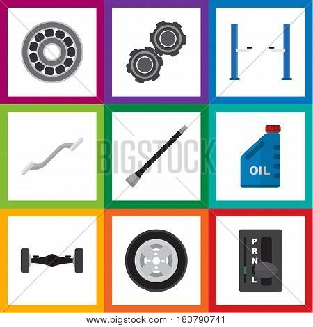 Flat Workshop Set Of Petrol, Belt, Auto Jack And Other Vector Objects. Also Includes Belt, Disk, Bearing Elements.