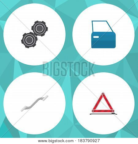 Flat Auto Set Of Warning, Belt, Coupler And Other Vector Objects. Also Includes Part, Coupler, Emergency Elements.