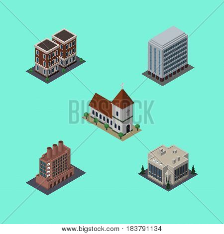 Isometric Building Set Of Industry, Company, House And Other Vector Objects. Also Includes Office, Building, House Elements.