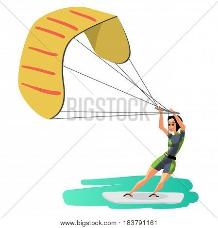 Woman drive at kite surfing. Girl windsurfing on water surface with air kite. Vector flat cartoon illustration on a isolated background