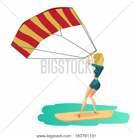 Woman drive at kite surfing. Back view. Girl windsurfing on water surface with air kite. Vector flat cartoon illustration on a isolated background