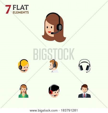 Flat Center Set Of Secretary, Telemarketing, Service And Other Vector Objects. Also Includes Service, Telemarketing, Call Elements.
