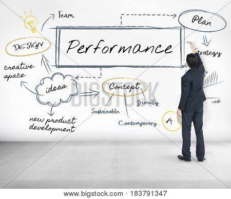 Businessman performance evaluation chart graphic