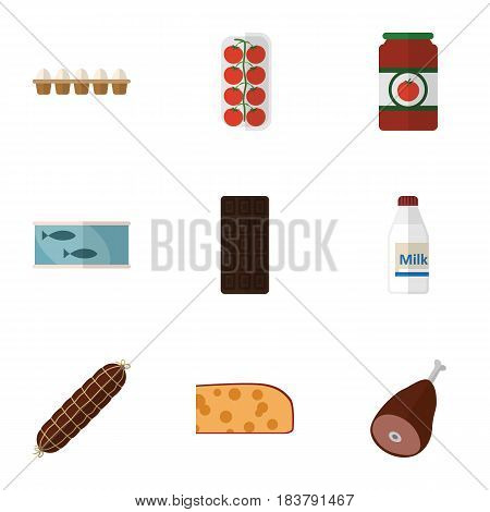 Flat Food Set Of Tin Tuna, Ketchup, Confection And Other Vector Objects. Also Includes Smoked, Bratwurst, Sauce Elements.