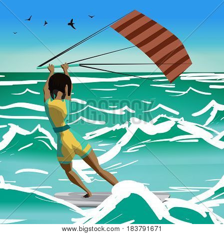 Afro woman drive at kite surfing. Back view. Girl windsurfing on water surface with air kite. Tropical sea summer landscape. Vector flat cartoon illustration
