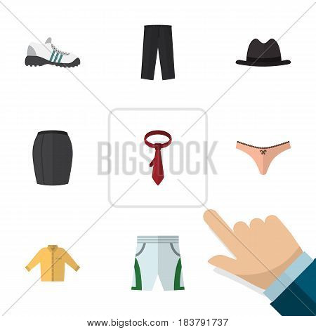 Flat Clothes Set Of Pants, Trunks Cloth, Cravat And Other Vector Objects. Also Includes Cloth, Leggings, Underwear Elements.