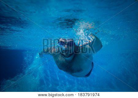 Underwater Portrait Of Young Man