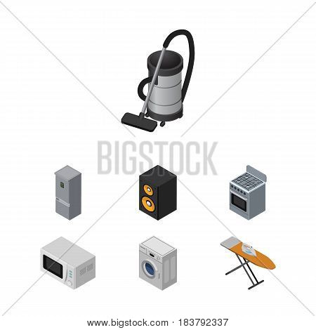 Isometric Technology Set Of Stove, Microwave, Music Box And Other Vector Objects. Also Includes Ironing, Machine, Vac Elements.