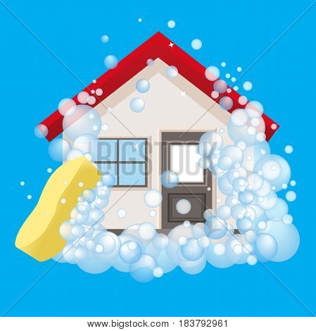 Conceptual logo and the poster for cleaning. The house in foam. Sign cleaning service on a blue background. Vector illustration.