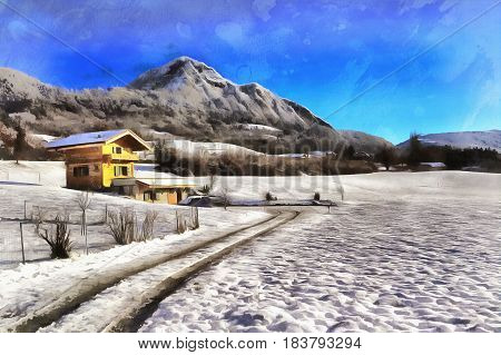 Colorful painting landscape with mountains and small house, canton Valais, Switzerland