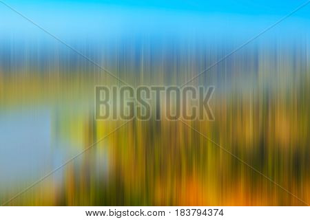 Psychedelic background based on blured landscape image looks like painting