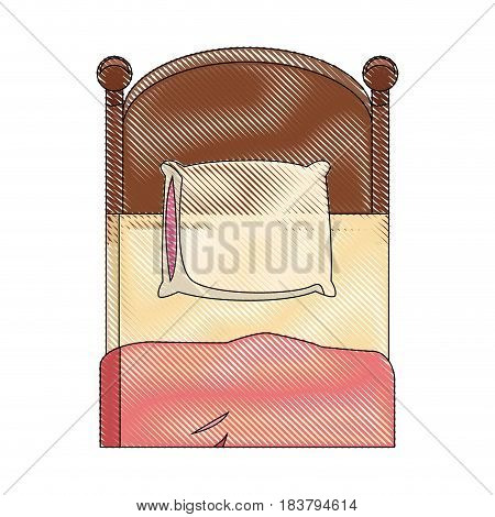 single bed wooden pillow bedding draw vector illustration