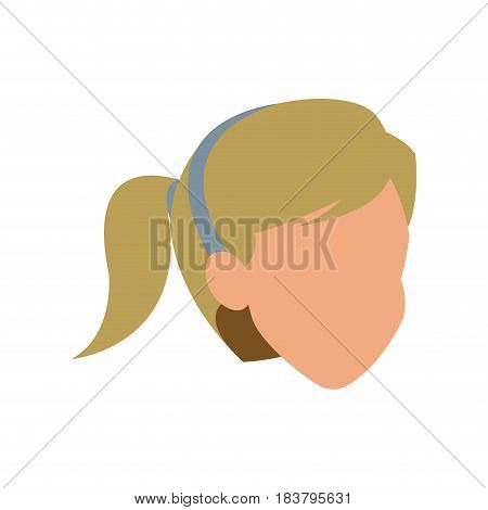 face woman head blonde ponytail vector illustration