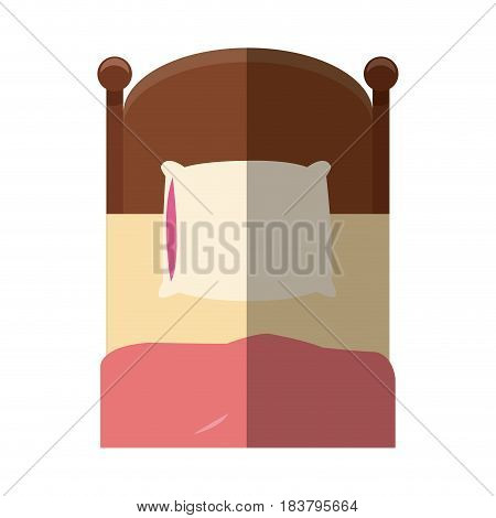 single bed wooden pillow bedding shadow vector illustration