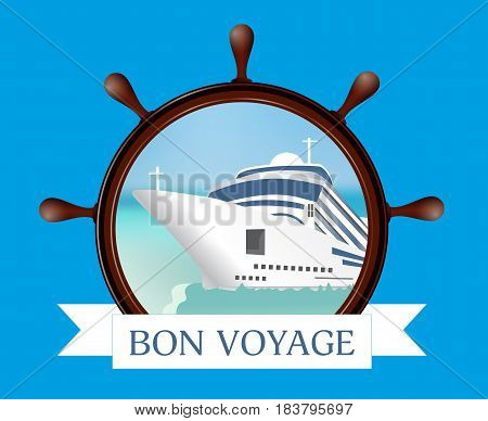 Helm and porthole with the ship ribbon on a blue background. Concept advertising sea travel. Vector illustration.