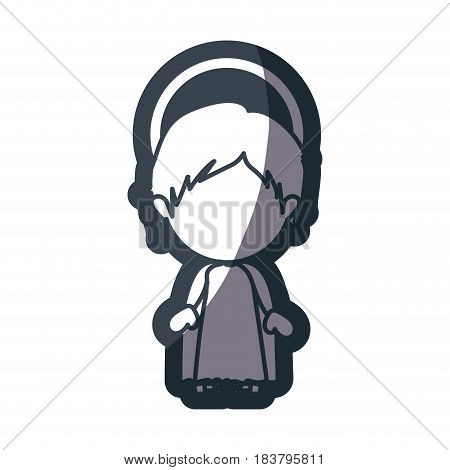 grayscale silhouette of faceless image of child jesus vector illustration