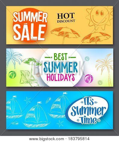 Summer sale and summer holidays vector web banner designs set with colorful backgrounds and drawing elements. Vector illustration.