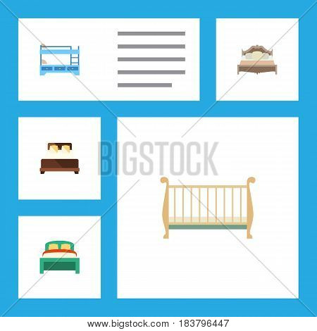 Flat Bed Set Of Mattress, Bedroom, Bunk Bed And Other Vector Objects. Also Includes Bunk, Bedding, Bedroom Elements.