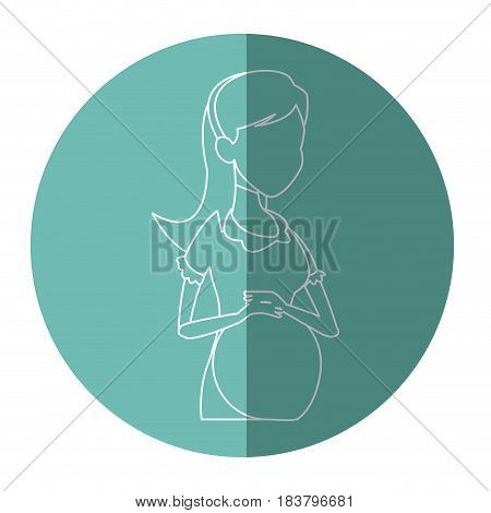 silhouette pregnant woman belly maternity vector illustration
