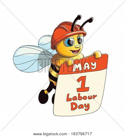 Illustration of a Cute Friendly Smiling Bee character with Labour Day poster