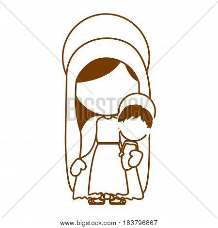 brown silhouette of faceless image of saint virgin mary with baby jesus vector illustration