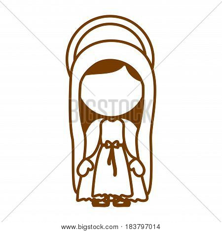 brown silhouette of faceless image of saint virgin mary vector illustration