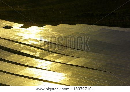 Photovoltaic solar panels in glowing sunlight. Sustainable power generation and distribution textured background and copy space.