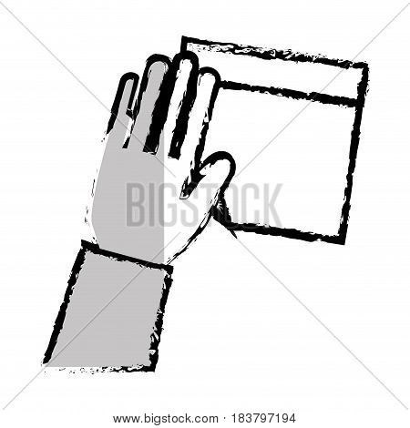 hand human with paper leaf notebook icon vector illustration design