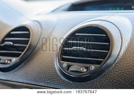 Close up ventilation system of modern car