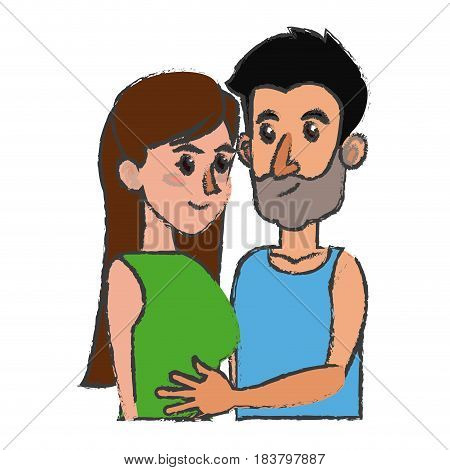 embracing couple relationship together design vector illustration