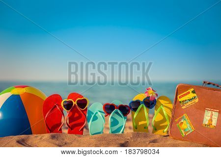 Flip-flops, Beach Ball And Suitcase