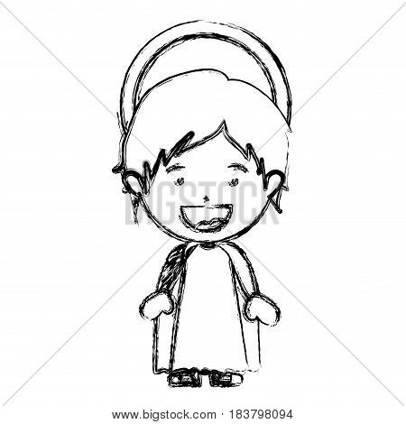 monochrome blurred silhouette of child jesus vector illustration
