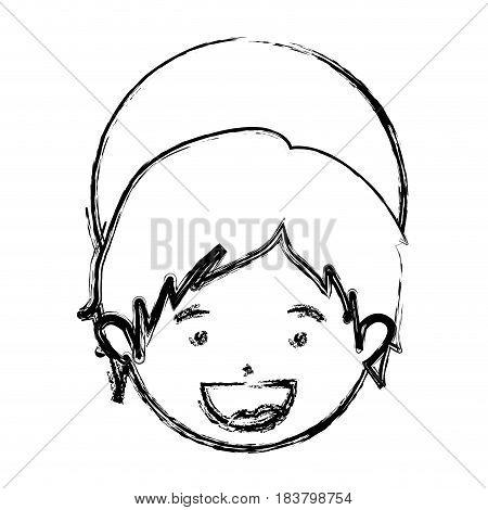 monochrome blurred silhouette of face child jesus vector illustration