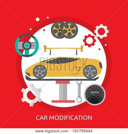 Car Modification Conceptual Design | Great flat illustration concept icon and use for mechanic, car repair, industrial, transport, business concept, and much more.