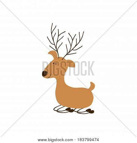 silhouette caricature color of funny reindeer lazy vector illustration