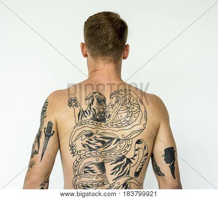 Studio shoot of caucasian man with tattoo