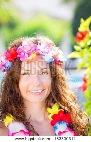 Woman Wearing Hawaiian Flowers Garland