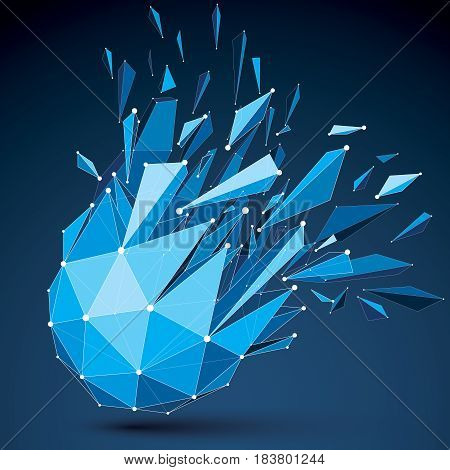 Abstract 3D Origami Figure With Connected White Lines And Dots. Vector Low Poly Shattered Design Ele