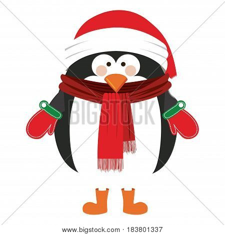 silhouette of penguin with boots scarf and gloves and christmas hat vector illustration
