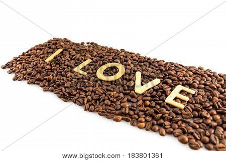 Coffee Beans With Cookies In Shape Of Love Word Isolated On White