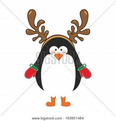 silhouette christmas of penguin with horns of reindeer vector illustration