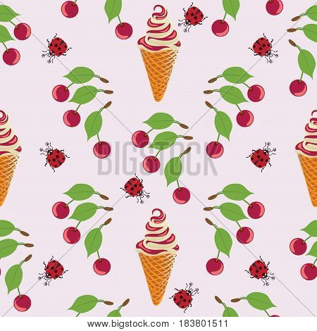 Cherry, ladybug and ice cream. Seamless pattern on a pink background. Design for textiles, tapestries, packaging, bags, purse.