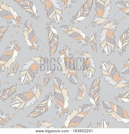 bird hand draw gray wiht seamless pattern textile pastel