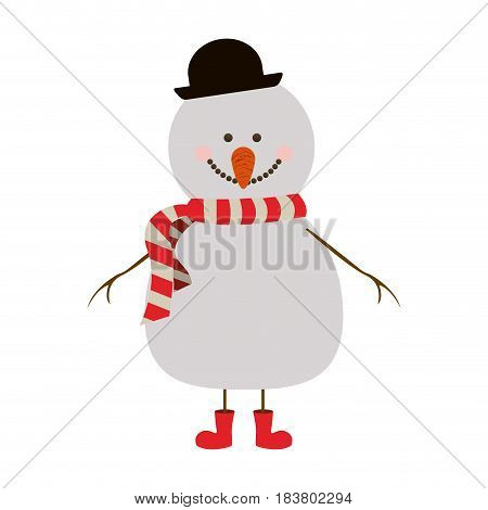 silhouette of snowman with red boots and scarf and black hat vector illustration