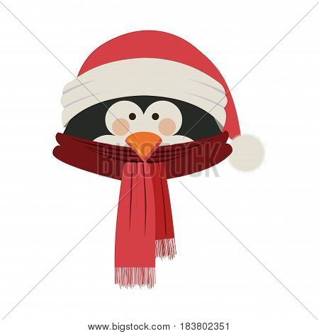 silhouette of penguin face with scarf and christmas hat vector illustration