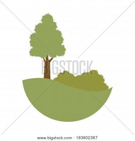 green tree with bushes  natural desing vector illustration