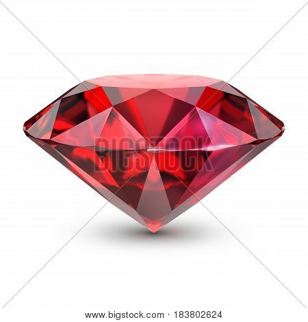 Great ruby. 3d image. Isolated white background.