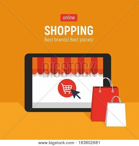 Banner with tablet. Page with online store open on tablet screen. Concept online shopping.
