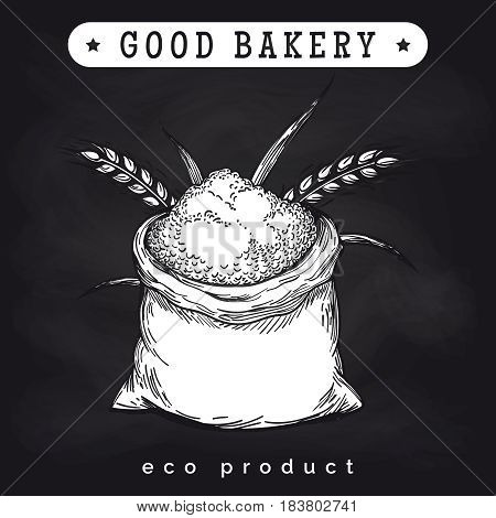 Eco mill product logo on chalkboard. Vector whole bag of wheat flour and ears of wheat