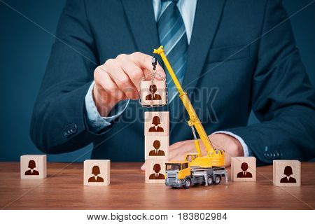Human resources build team hire and recruitment concepts. Recruiter complete team by leader (CEO).